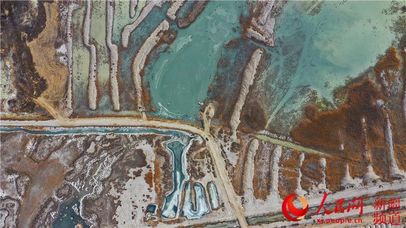 新疆博斯腾湖落霞湾,犹如一块大自然的多彩调色板。年磊 摄